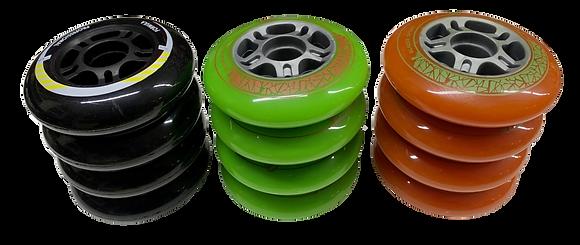 Set de 8 ruedas de 84 mm y 85A dureza 3 colores