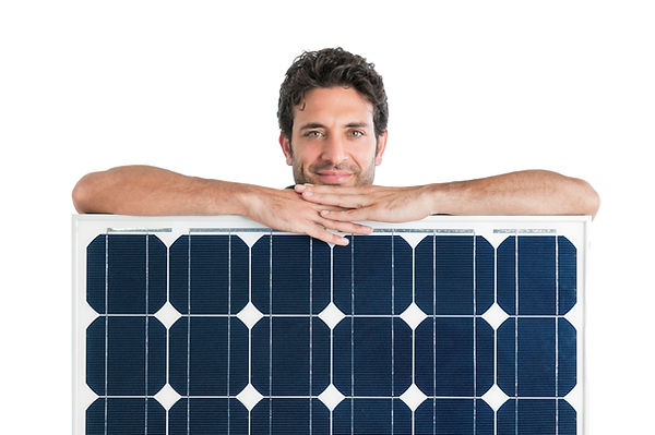 Smiling man showing and holding a solar