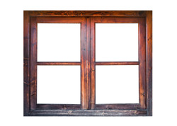 A closed wooden window isolated on white