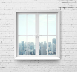 Modern window with skyscraper view in br
