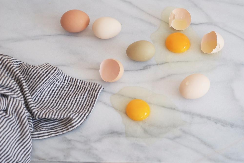 Variedad de huevo organico