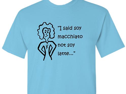 Karen Mens cut in blue Soy Macchiato not soy Latte