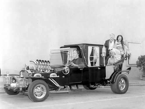 Cast of the 1960s Munsters Riding in thier Munster Koach