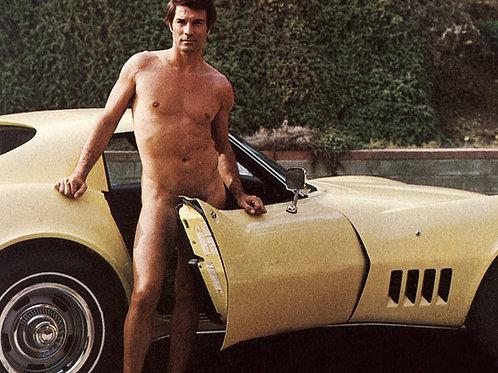 Nude George Maharis Holding the Door of a Yellow Corvette