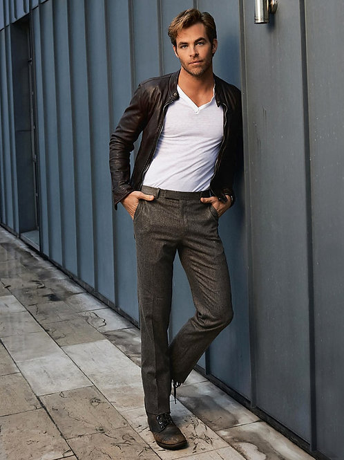 Chris Pine Leaning on a Wall