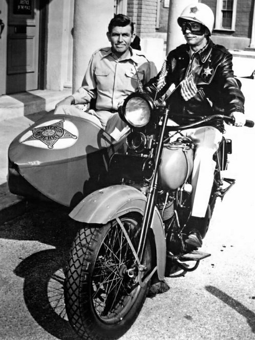 Andy Griffith & Don Knotts Sitting on a Motorcycle with Andy in the Sidecar