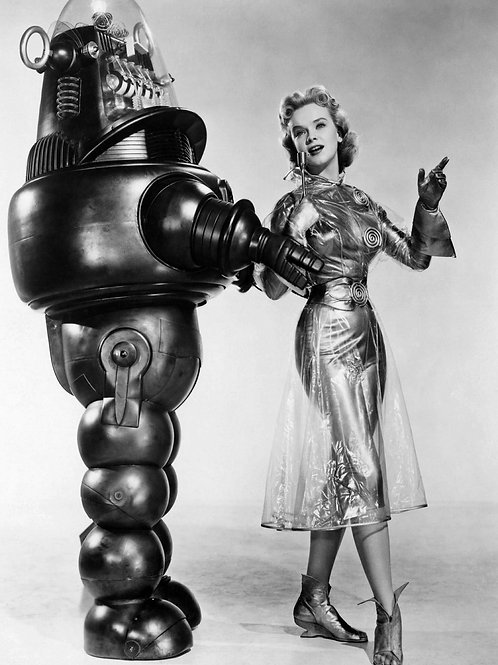 Anne Francis with Robbie the Robot in a Promo for Forbidden Planet