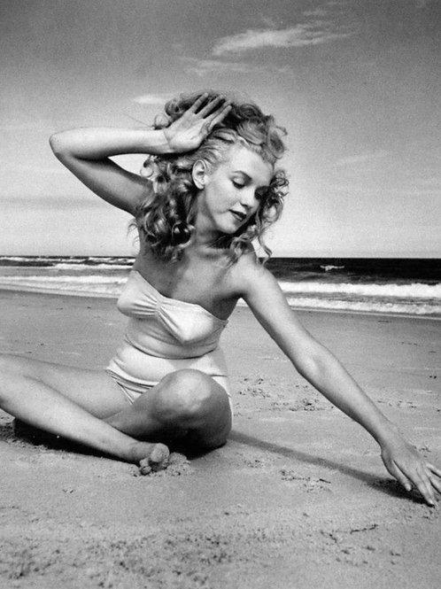 Marilyn Monroe on the Beach in 1949 Wearing a Bikini