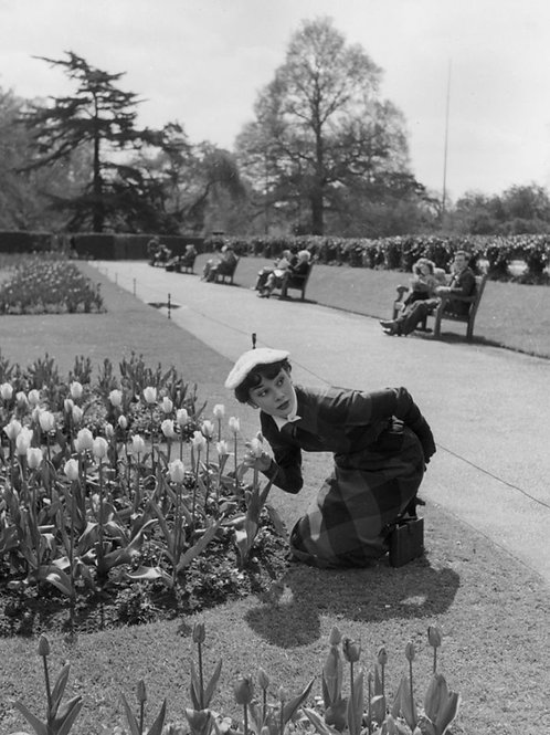 Audrey Hepburn in London in 1950 Posing by the Flowers in the Park