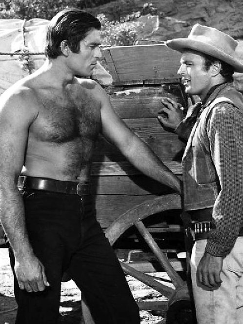 Clint Walker Shirtless Talking to Another Cowboy