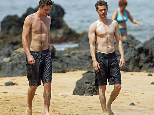 Andrew Garfield & Garrett Hedlund Walking Shirtless on the Beach