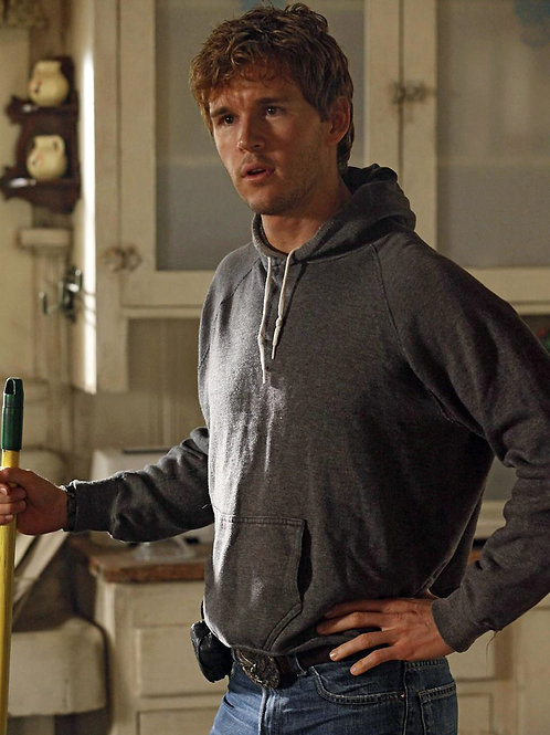 Ryan Kwanten Holding a Broom