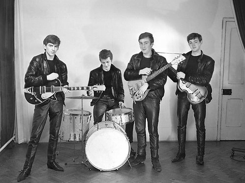 Beatles in 1961 with thier Instruments Bulging in Tight Leather Pants