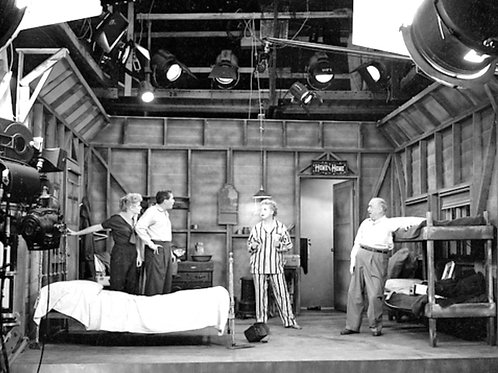 Cast of I Love Lucy Behind the Scenes in a Motel Room