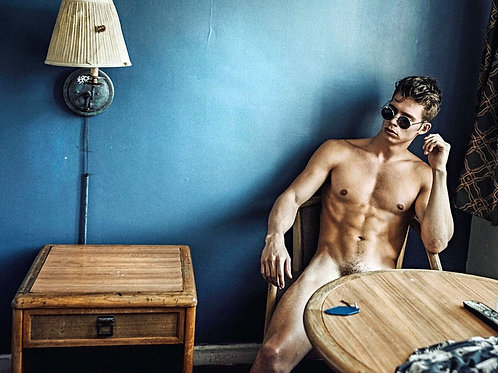 Leif Erik Nude at a Motel Table