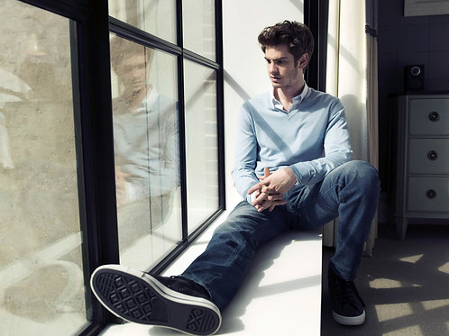 Handsome Andrew Garfield Staring Out a Window