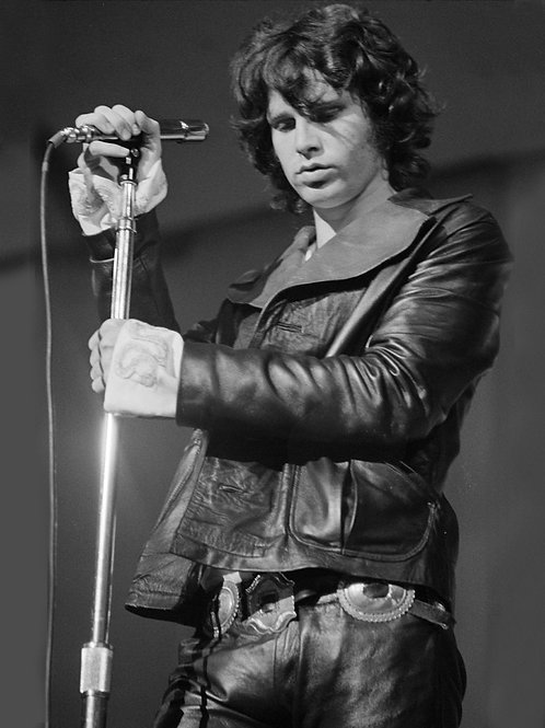 Jim Morrison Adjusting his Mike