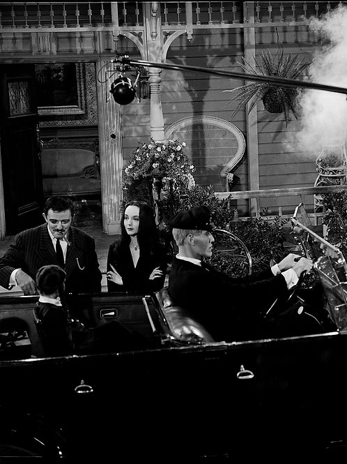 Cast of the Addams Family by Thier Car with the Boom Mike Overhead