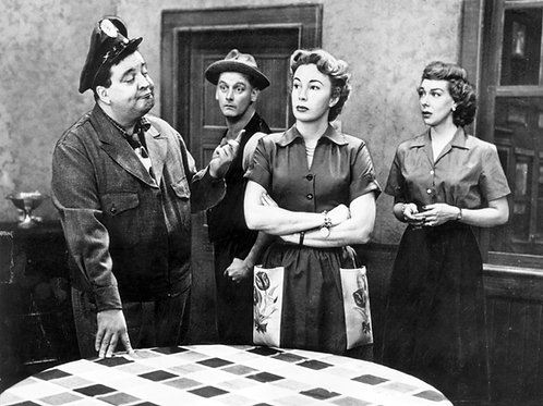 Cast of the Honeymooners on Set Around the Kitchen Table
