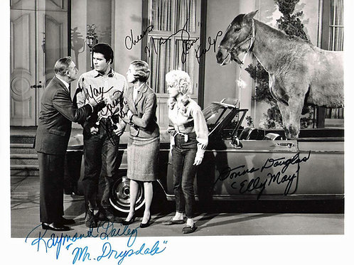 Cast of the Beverly Hillbillies by Miss Janes Car with a Donkey in It