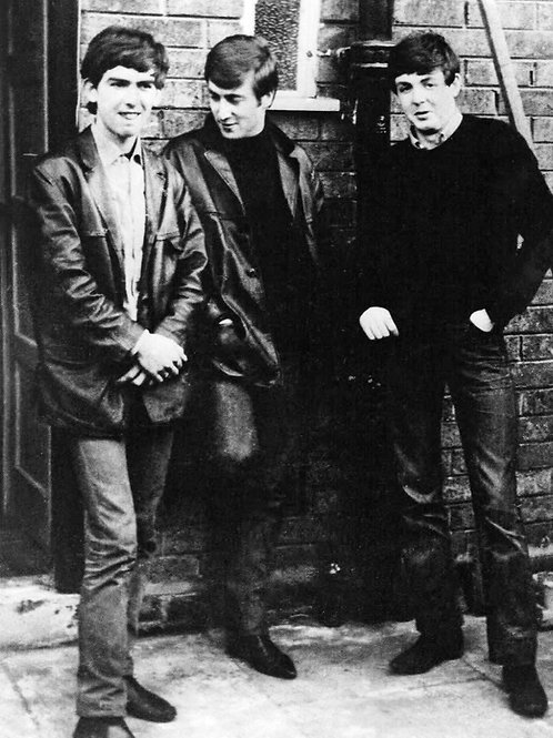 George Harrison, John Lennon & Paul McCartney, outside McCartney's home in 1960