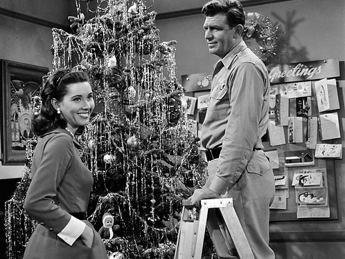 Andy Griffith & Elinor Donahue Decorating a Christmas Tree