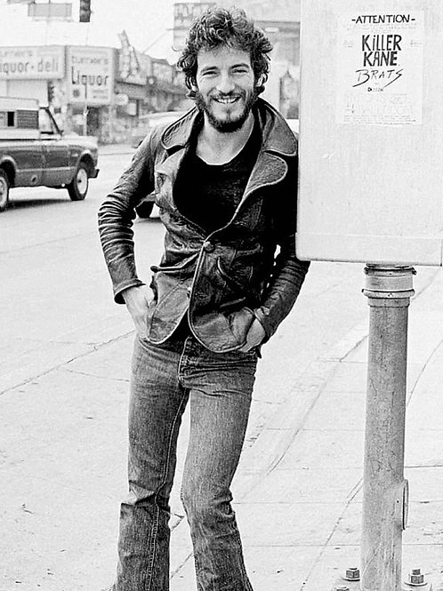 Bruce Springsteen in the 70's By a Phonebooth Wearing his Tight Skinny Jeans
