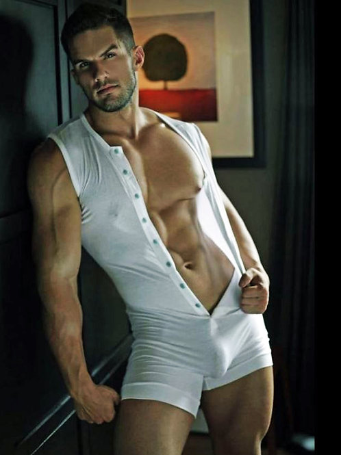Dark Eyed Hunk in a White Union Suit