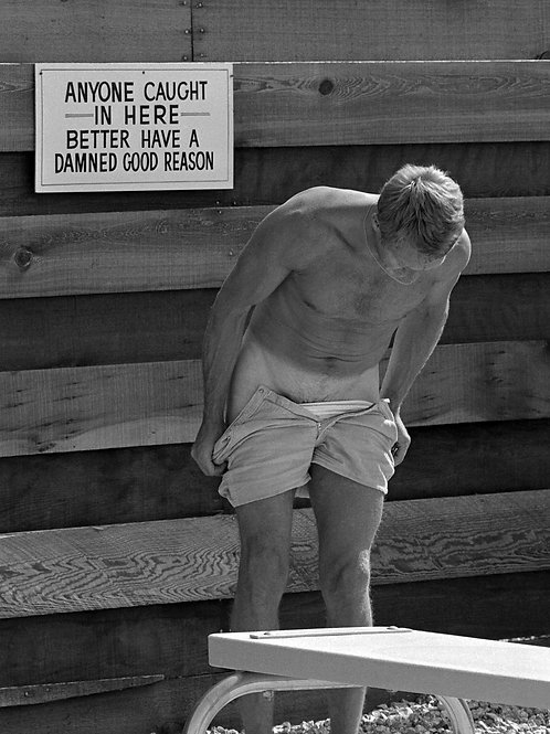 Steve McQueen Pulling Of his Shorts at Palm Springs in 1963