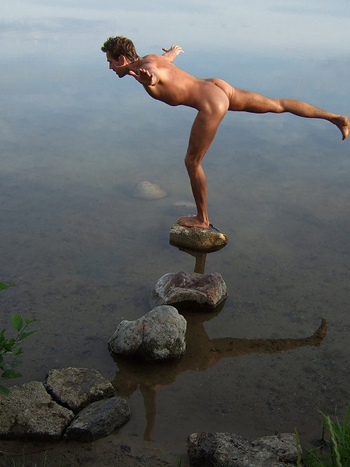 Balancing on a Stone in the Lake