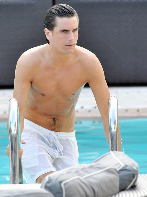 Scott Disick Exiting a Pool Wearing Wet White Shorts