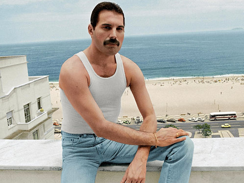 Freddie Mercury Sitting on a Wall Overlooking the Beach