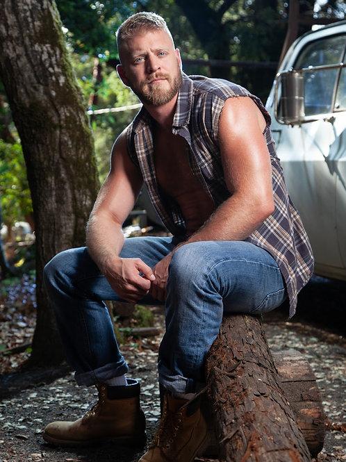 Redneck Sitting on a Log