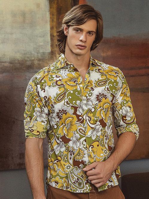 Radu Ionut Wearing a Flower Power Shirt