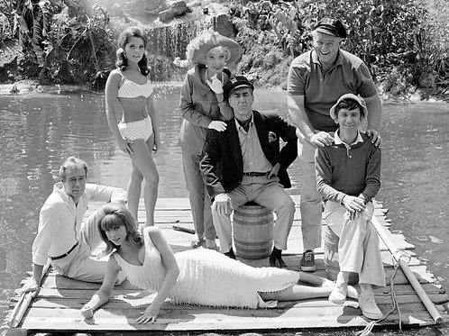 Cast of Gilligan's Island on a Raft