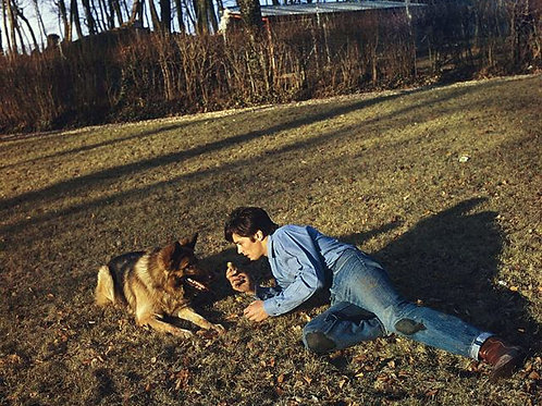 Alain Delon Playing with his Dog