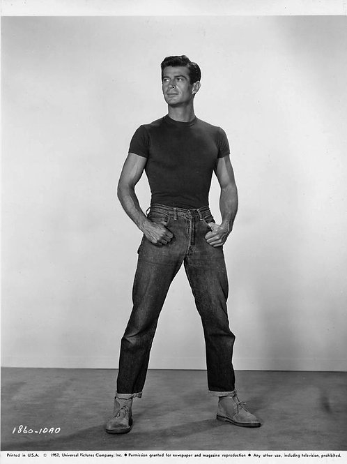 Young George Nader Wearing Jeans