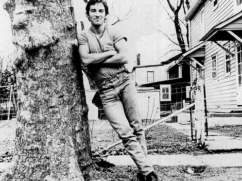 Bruce Springsteen Leaning on a tree in 1973 with a Bulge in his Jeans