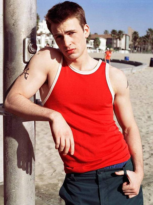 Young Chris Evans Wearing a Red Tanktop at the Beach