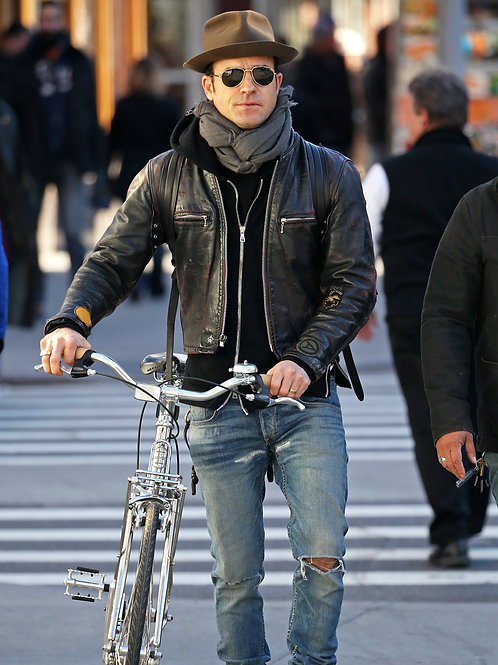 Justin Theroux Walking His Bike Wearing Old Ripped Jeans