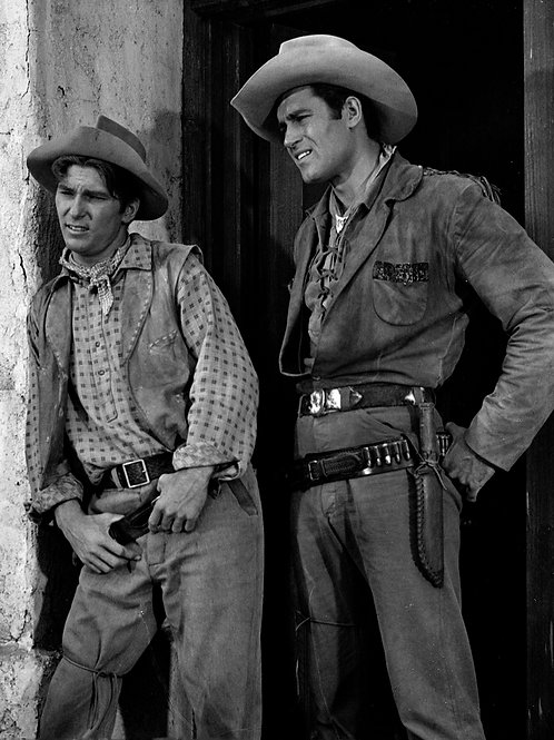 Bulging Clint Walker with Another Actor in TVs Cheyenne