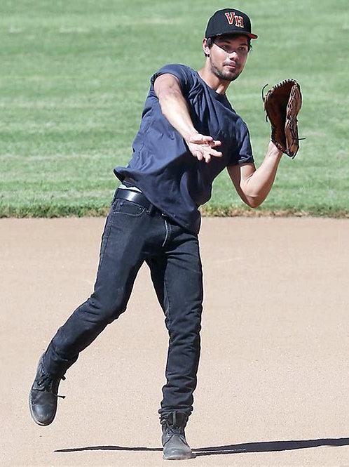 Bulging Taylor Lautner Playing Baseball