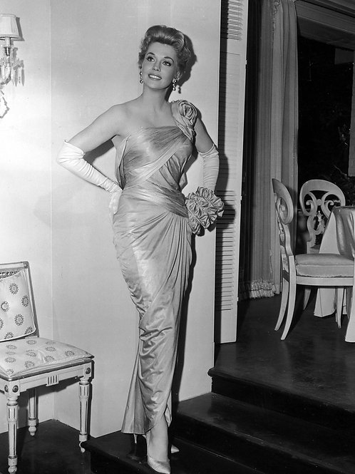Beautiful Donna Douglas Posing Wearing an Elegant Gown