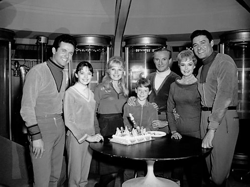 Cast of Lost in Space Celebrating on the Set of the Jupiter 2