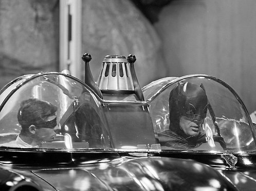 Burt Ward & Adam West in the Batcave Sitting in the Batmobile