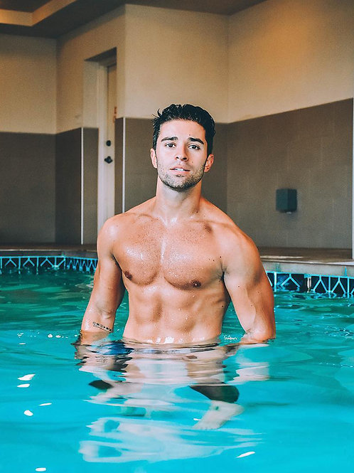 Max Ehrich in the Pool