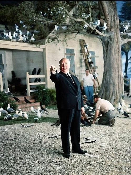 Alfred Hitchcock on the set of The Birds in 1963