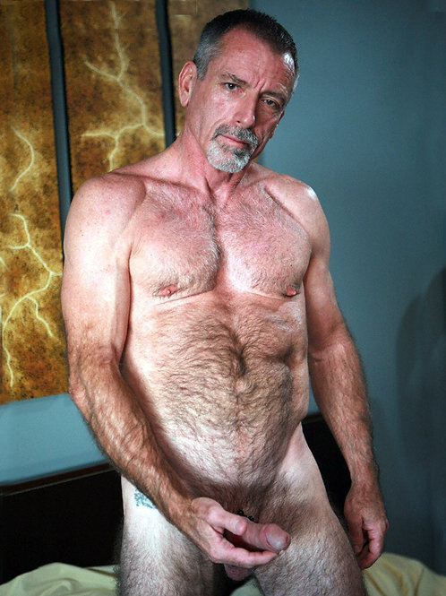 Hairy Daddy with a Small Tattoo Holding his Dick
