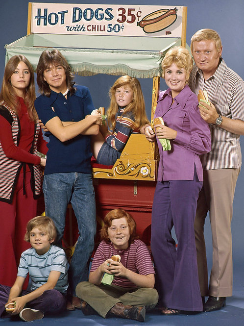 2nd Season Cast of the Partridge Family with a Hot Dog Cart
