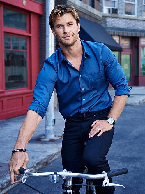 Chris Hemsworth on his Bike